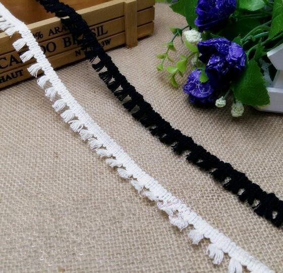 50Meters/lot Free Shipping Black/ Beige Cotton Fringe Venice Taseel Lace Sewing Trims Craft Curtain Scarves Accessories 1.8cm(China (Mainland))