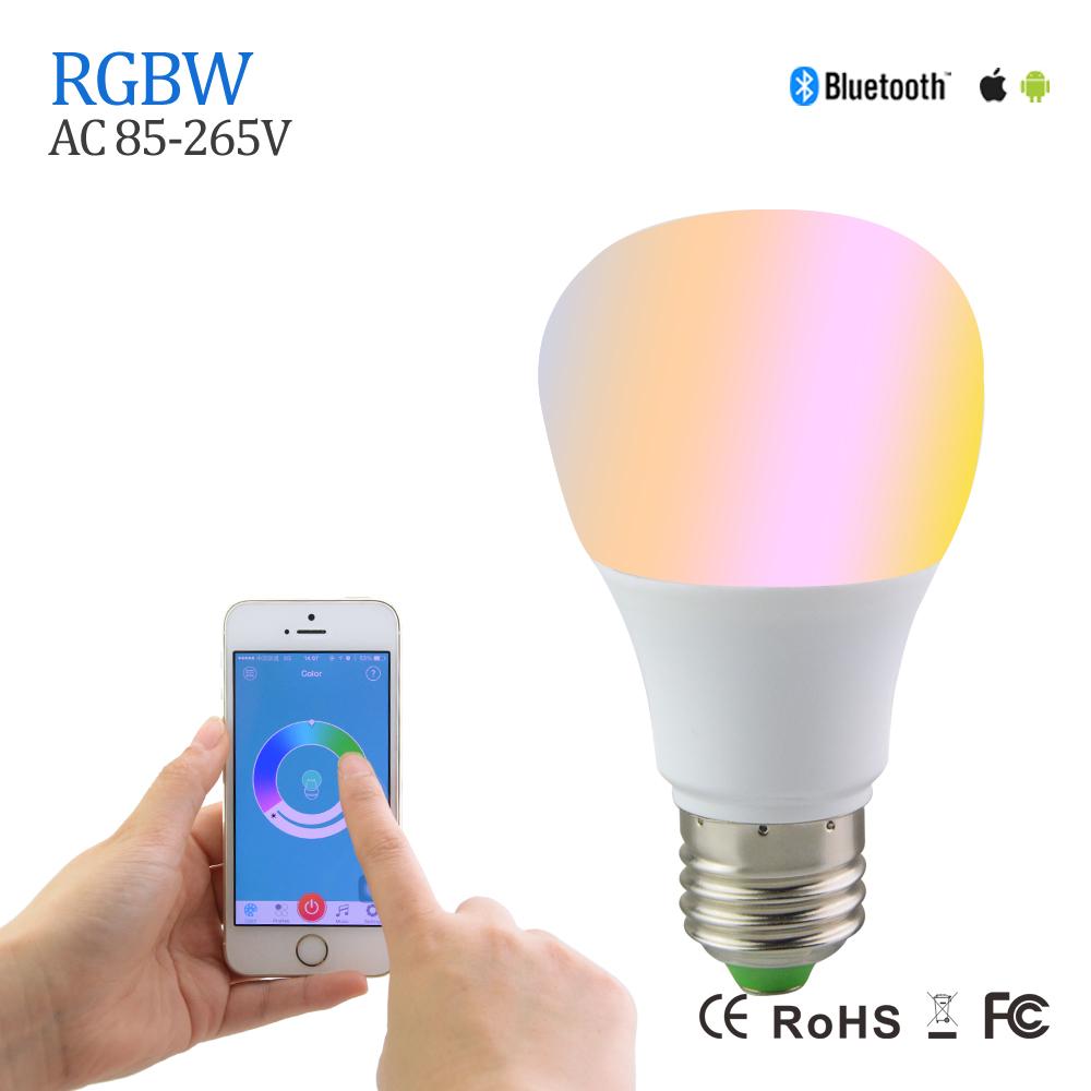 Newest 5W E27 RGBW Led Light Bulb Bluetooth 4.0 Smart Lighting Lamp Color Change Dimmable For Home Hotel KTV Bar Decor AC85-265V(China (Mainland))