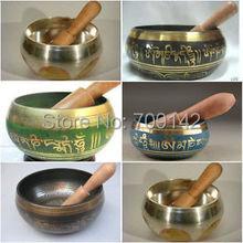 beautiful Tibetan Buddhism Cuprum Mantra Singing Bowl wholesale 6pcs Bronze Buddhism copper singing bowls