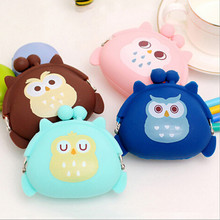 candy color owl bunny cat silicone coin purse kids gift cartoonTrendy baby Mini coin bag lady change purse women smart wallets(China (Mainland))