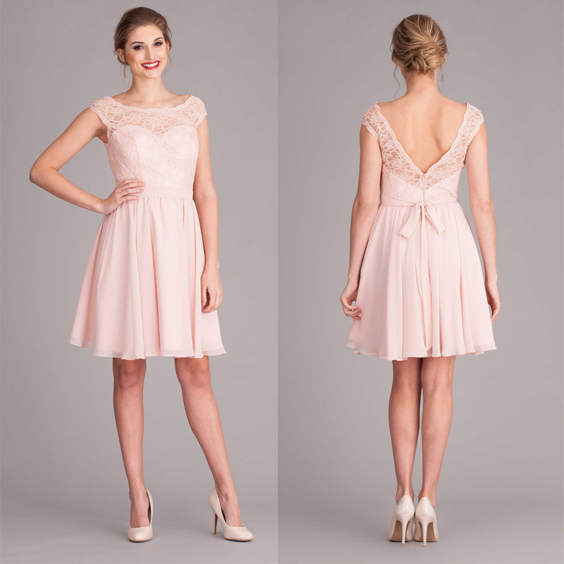 Pink Lace Wedding Guest Dress : Pink v back cap sleeve short lace bridesmaid dress with