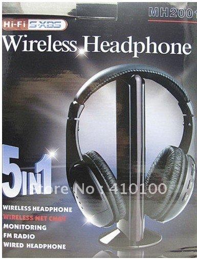 5 in 1 Hi-Fi WIRELESS HEADPHONE EARPHONE FOR MP3 PC TV free shipping