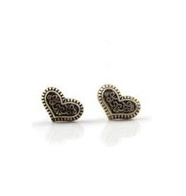 Wholesale Jewellery 12pairs/Lot Unique Vintage Bronze Carving Heart Earrings C24R6