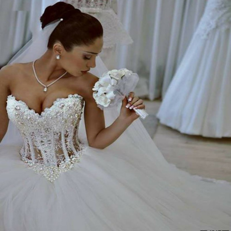 Corset ball gown wedding dress custom made full pearls for White corset wedding dress