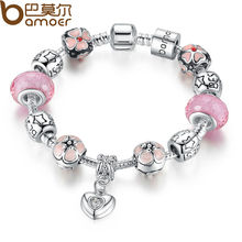 BAMOER 925 Silver Charm Bracelet with Heart Pendant & Cherry Blossom Charm Pink Murano Glass Beads Friendship Bracelet PA1459(China (Mainland))