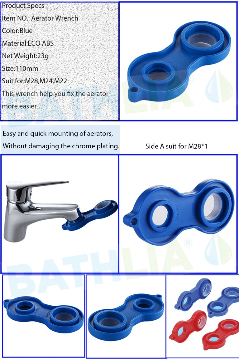 ABS Faucet Aerator Wrench Install Tool faucet aerator spanner wrench With multi-function for M28 M24 M22 Plastic sprinkle