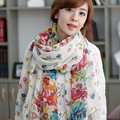 Autumn And Winter New Styl Trendy Warm Flower Pattern Woman Refined Cotton Rayon Scarves Paris Voile