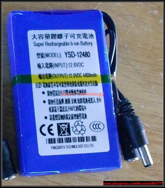 CE ROHS DC 12V lithium battery pack,4800 Mah capacity high volume smart CCTV security camera power battery, - Super Technology Industry Co., LTD store