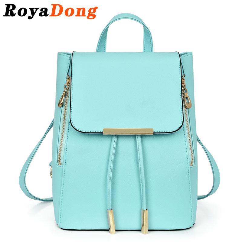 RoyaDong Drawstring Hooded Backpack Women School Bags For Teenagers PU Candy Color Two Zipper 2016 Mochila Rugtas Sac A Dos(China (Mainland))
