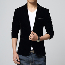Mens slim fit blazer velvet male jacket 2014 spring and autumn red navy black blue notch lapel casual coat Free shipping