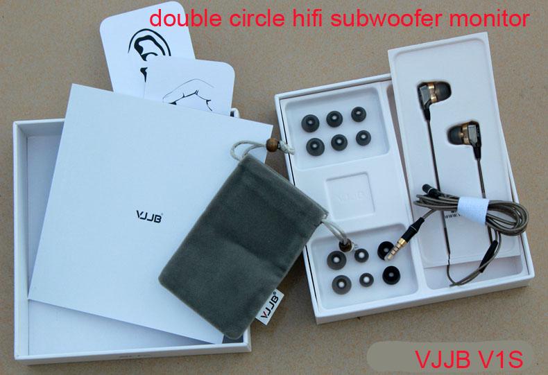 VJJB V1 V1S High Fidelity Professional Stereo Inner-Ear Earphones with mic double circle hifi subwoofer monitor's(China (Mainland))