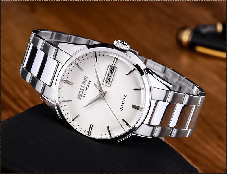 Роскошные HOLUNS часы мужчины сапфировое стекло кожаный ремешок водонепроницаемый дата нержавеющей стали кварцевые часы relogio мужской