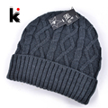 2017 winter men hats polo beanie knitted wool hat plus velvet cap Thicker mask beanies for