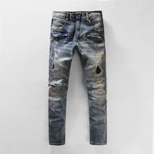 ripped biker jeans for men skinny blue with holes balmai kanye destroyed jeans,biker jeans mens balmans 905,free shipping(China (Mainland))