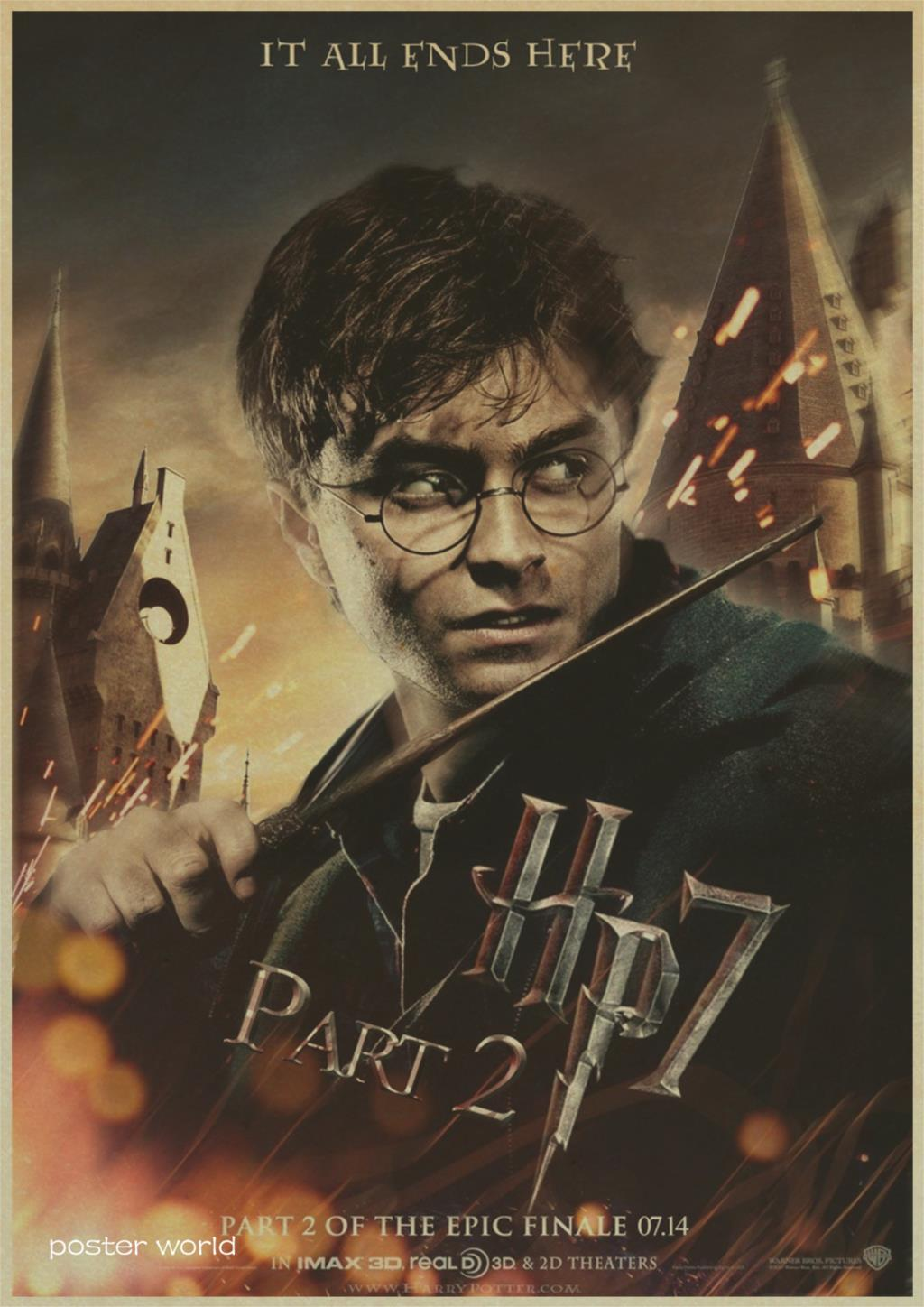Harry Potter magic world poster series Vintage Retro Matte Kraft Paper Antique Poster Wall Sticker Home Decora
