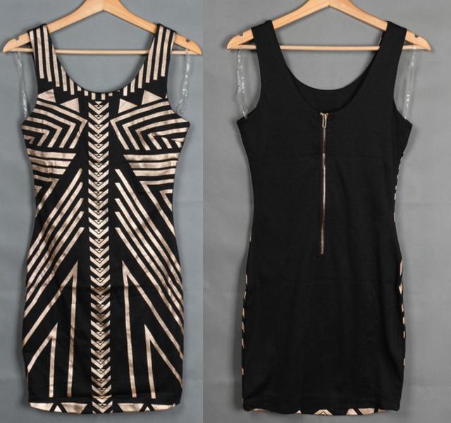Платье бандажное без рукавов лето, vestido де феста винтажный марка женщины платья сексуальный геометрический принт золото леди свободного покроя одежда