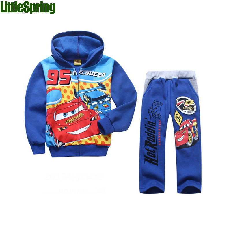 2015 New autumn&winter children's sets cartoon car toddler suits long sleeve baby children's clothing outfits(China (Mainland))