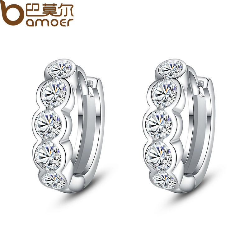 Bamoer White Gold Plated Round Stud Earrings With AAA Zircon For Lady Wedding Jewelry SDTE081(China (Mainland))