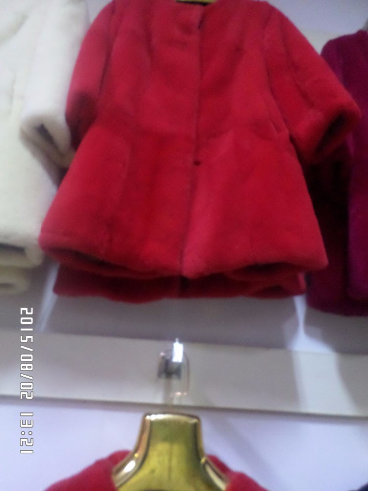 Senior Red, blue and white pink rabbit fur coat