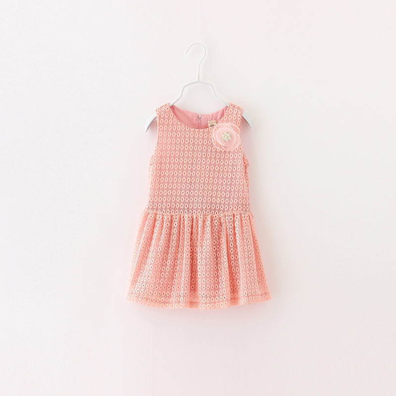 Girls Summer Tank Dress Solid Lace Hollow Out With Flower For Kids Sleeveless Children Fashion Zipper Style Clothing 5psc/ LOT<br><br>Aliexpress