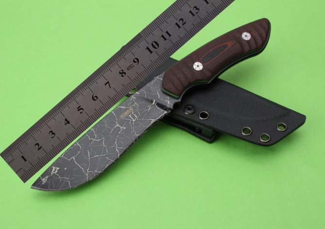 9CR18MOV Laser Crack Blade Fixed Hunting Survival Knife Full Tang Micarta Handle Fixed Tactical Knife K-Sheaths 1458#