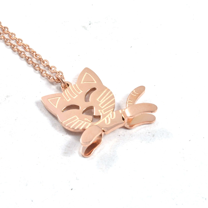 Fashion Animal Cat Necklace Silver Rose Gold Plated Stainless Steel Lovely Running Cat Pendant Necklace Jewelry For Girls(China (Mainland))