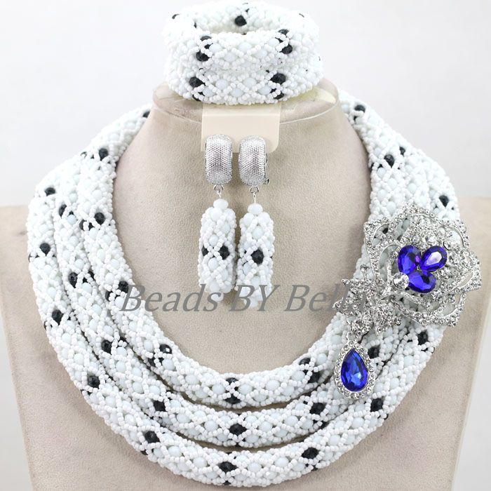 Фотография Silver Plated Nigerian Women Statement Necklace Lace Jewelry Set White Crystal African Wedding Accessories Free Shipping ABK918
