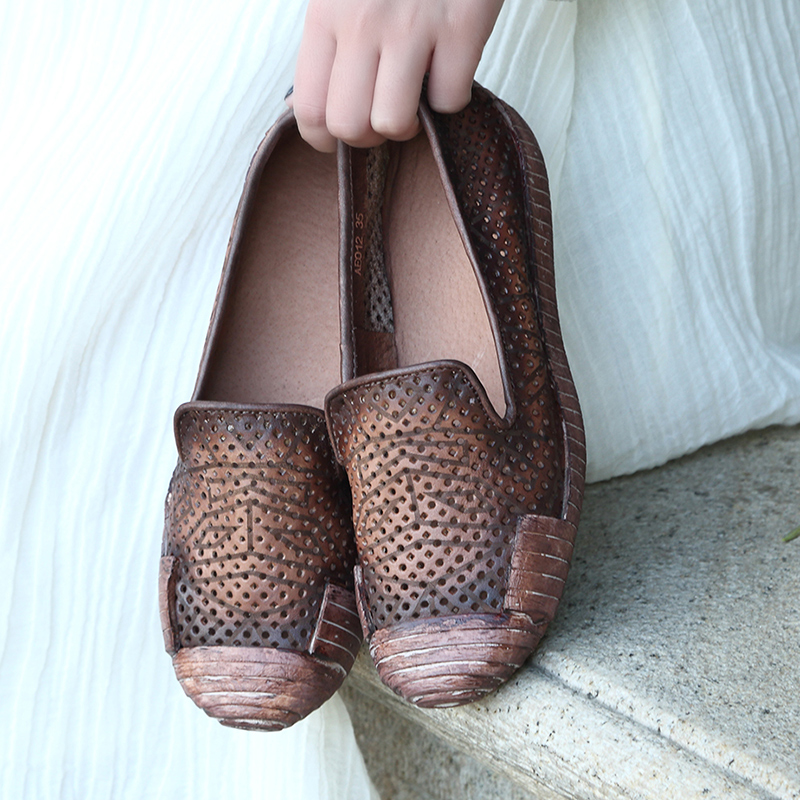 Фотография 2016 Handmade leather retro summer hollow out breathable flats spring and autumn  leather  mother  women shoes