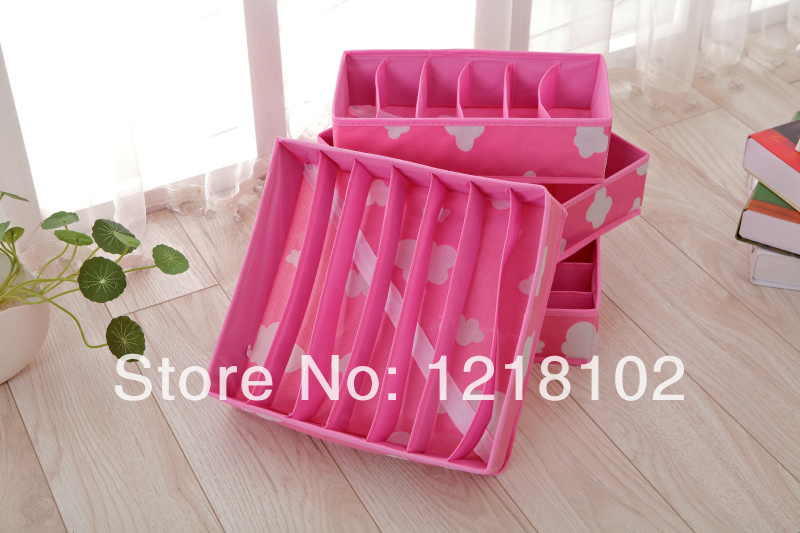 FreeShipping 4 pieces for a Set,Bamboo Charcoal Fibre Foldable Closet Wardrobe Organizers Storage Box For Bra, Necktie,socks(China (Mainland))