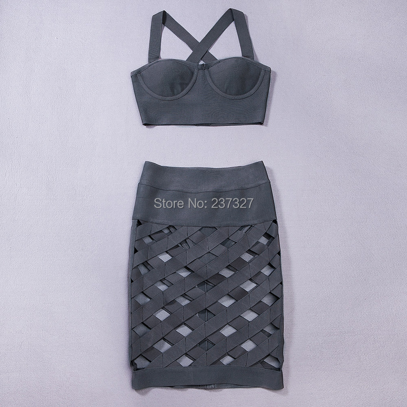 IN STOCK!!! Ship immediately!OCS Exclusive Summer New Arrival Dress 2015 Women Taupe Sexy Lattice Crossover Bandage 2 Piece Set(China (Mainland))
