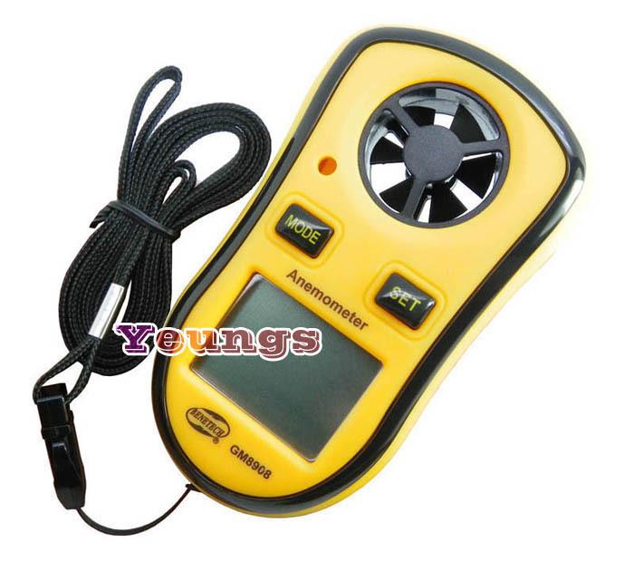 Anemometer Wind Speed Mini Digital LCD Display Gauge Meter Thermometer GM8908(China (Mainland))