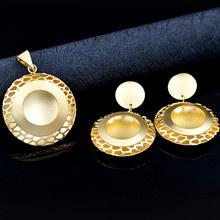 סאני תכשיטי רומנטי תכשיטי סטים לנשים שרשרת עגילי תליון תכשיטי סטים עבור מסיבת חתונה מתנה עגול פרח תכשיטים(China)