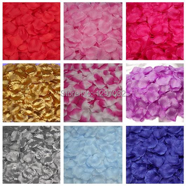 Top selling 500 pcs or 1000pcs Silk Rose Flower Petals Leaves Wedding Party Table Confetti Decorations JE164(China (Mainland))