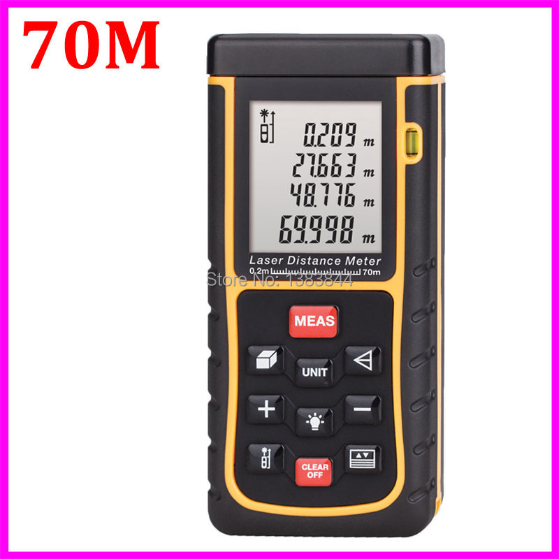 Free shipping 70m Digital Laser distance meter RZ70 bubble level Tape Rangefinder Rang finder measure Area/Volume M/In/ft Tool(China (Mainland))