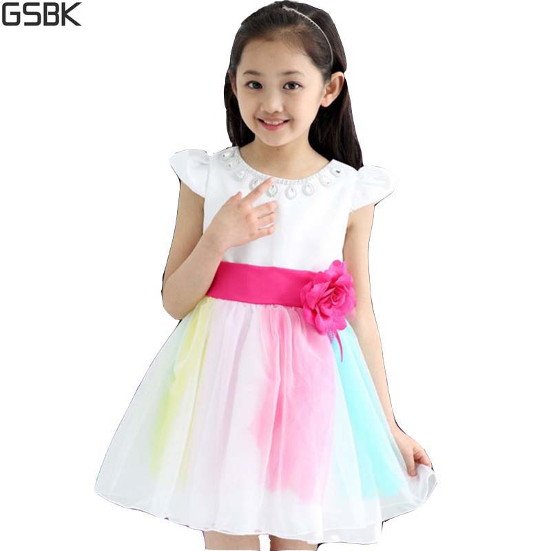2016 Summer Princess Dress Girl Kids Fashion Flower Rainbow Dresses For Girls Clothes Retail 1PC AA3320(China (Mainland))