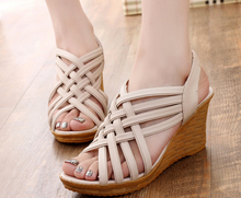 2016 new Fashion Sexy Summer wedges Hollow out Cross-strap Sweet Gril Casual Women Sandal Shoe 011