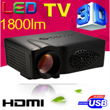 Cheaper 1800lumens HD TV HDMI USB 1080p Home theater Led LCD Portable Mini movie TV Projector Digital Video 3D Proyector beamer(China (Mainland))