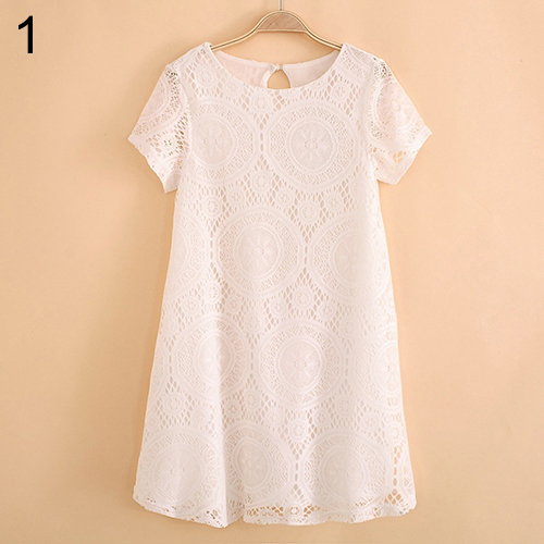 2016 New ArrivalWomen's Vintage Bohemian Short Sleeve Lace Dress Bottoming Loose Hollow Dresses 3FW6D