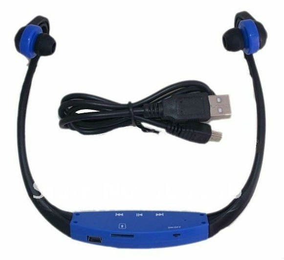 New Wireless Wrap Around Headphones Digital Sport MP3 Player with TF card slot Green/Blue/Red/Black Colors free shipping