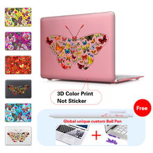 New Butterflies Crystal shell case cover for Apple Macbook Air Pro Retina 11.6 12 13.3 15.4 inch laptop Cases For Mac book bag