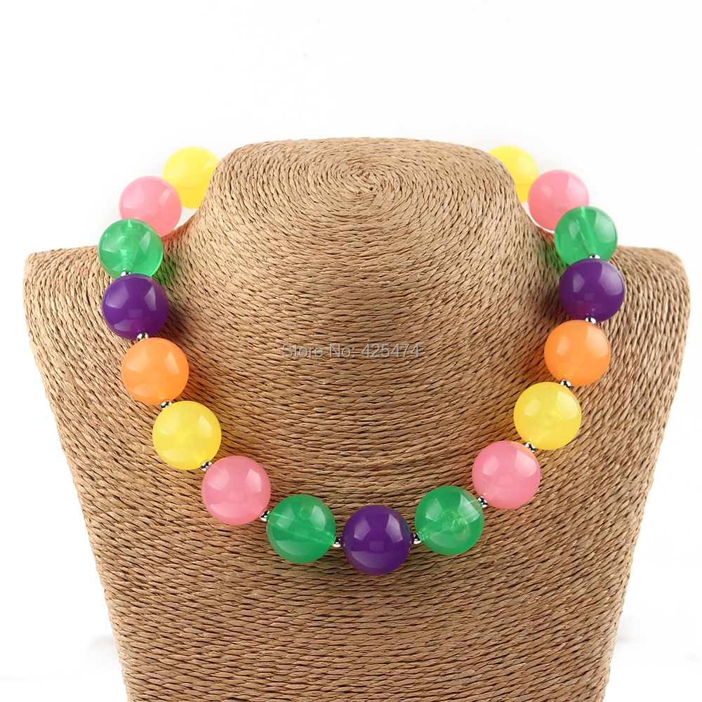 1PC Neon Candy Colors Toddler Kids Bubblegum Beaded Jewelry Necklace Photo Prop Gum Ball Chunky Necklaces Handmade Craft(China (Mainland))