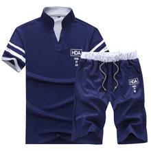 Летняя рубашка поло, Мужская рубашка поло с коротким рукавом + шорты, костюм для мужчин, однотонная Джерси, дышащая, 2 шт., топ с коротким рукав...(China)