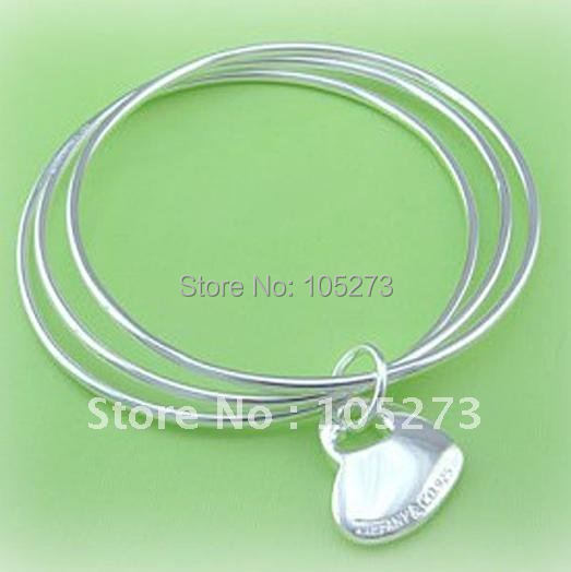Big Promation 925 Sterling Silver Heart Pendant Bangle bracelet silver cuff bangle 925 silver jewelry Hot Sale New Free Shipping<br><br>Aliexpress