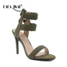 LALA IKAI kadın ayak bileği kayışı sandalet moda yüksek topuklu Sandal yaz dokuma ince topuklu kadın pompaları ayakkabı bayanlar 014B0174- 4(China)