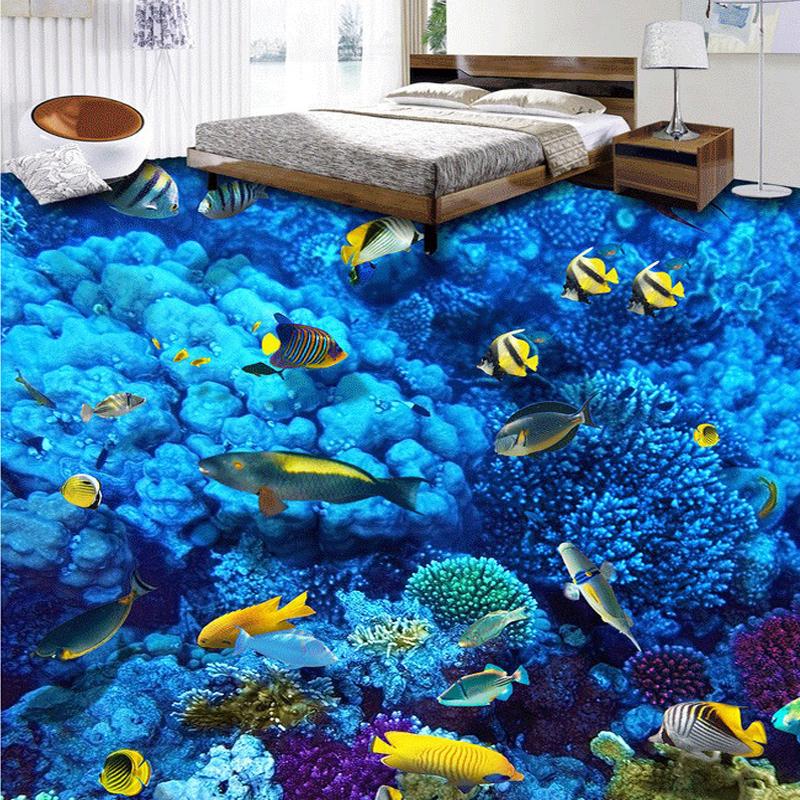 Custom Photo Floor Wallpaper 3D Marine Life Stereoscopic Papel De Parede PVC Self Adhesive Waterproof Kids Bedroom Wall Covering(China (Mainland))