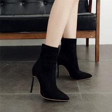 2020 kadınlar yeşil çizmeler 12cm yüksek topuklu ayak bileği fetiş çizmeler artı boyutu 42 kış çizmeler Stiletto yılan derisi serpantin scarpin ayakkabı(China)