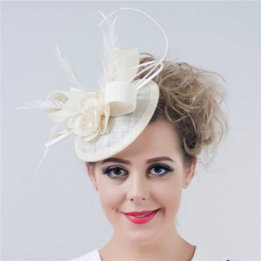 2015 New Women Fashion Feather Sinamay Fascinator Floral Wedding Party Fascinators Hats Headpiece Wholesale SFCS12370 6 pcs/lot(China (Mainland))