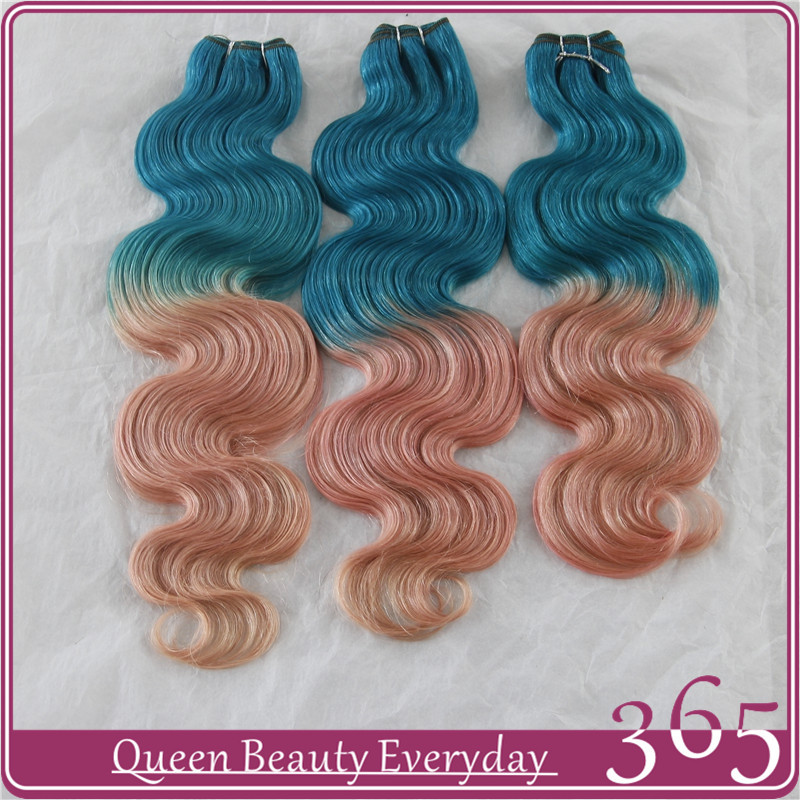 Ombre hair extensions light blue light orange brazilian virgin human hair weave 7A grade 365 queen hair products free shipping(China (Mainland))