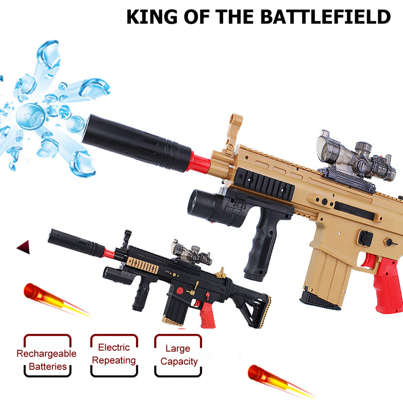 Electric Repeating Crystal Bullet Toy Gun SCAR Assault Rifle Soft & Water Bullets Battlefield Hero Gun Boy Gift Idea(China (Mainland))