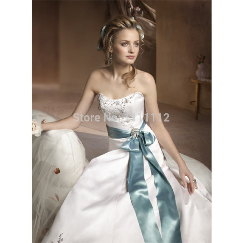 Nitree strapless a line sheath embroidery ribbon sweep for Sweep train wedding dress